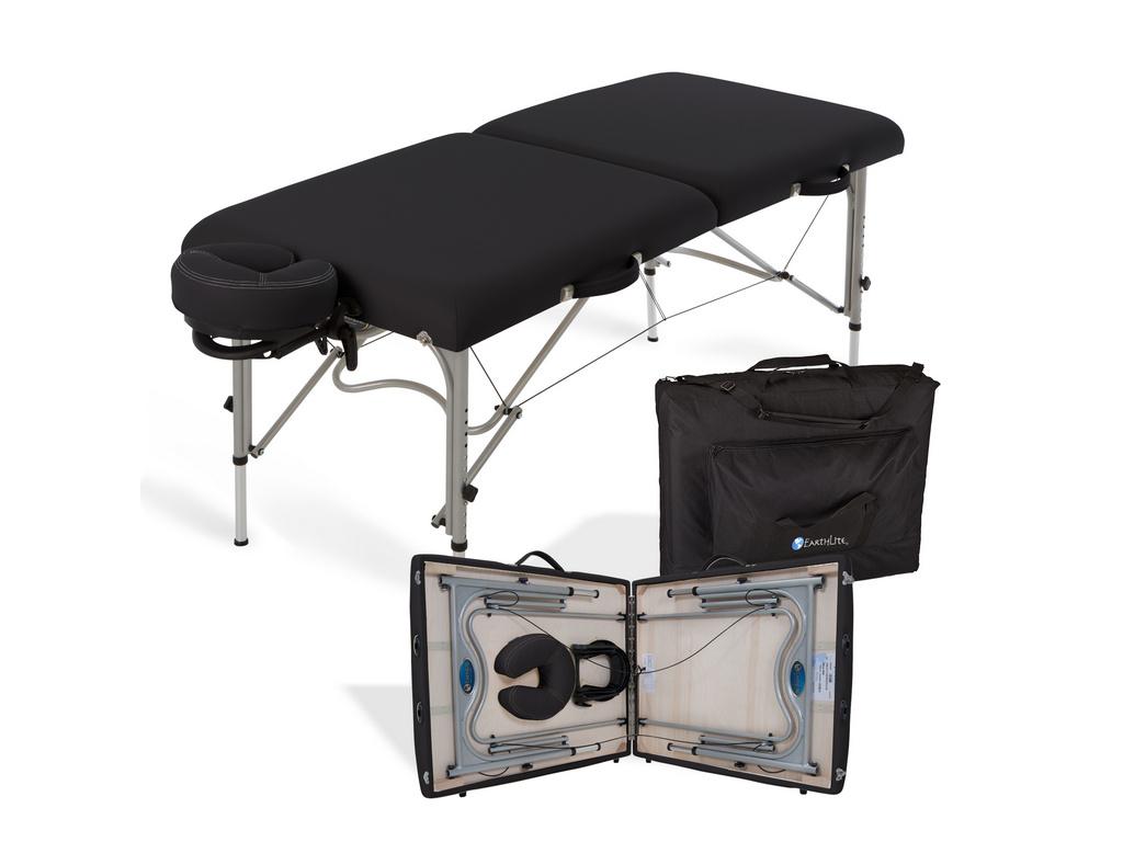 Κρεβάτι μασάζ Luna μαύρο βαλίτσα με θήκη μεταφοράς